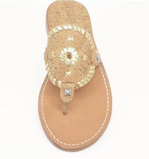 Palm Beach Sandals Ocean Ave in Cork and Gold  Apparel & Accessories > Shoes > Sandals > Thongs & Flip-Flops
