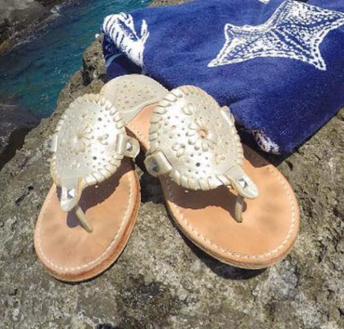Palm Beach Sandals Ocean Ave in Platinum and Platinum  Apparel & Accessories > Shoes > Sandals > Thongs & Flip-Flops