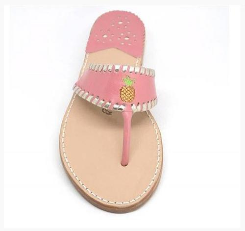Palm Beach Aubrey Pineapple Sandals in Melon and Pale Gold  Apparel & Accessories > Shoes > Sandals > Thongs & Flip-Flops