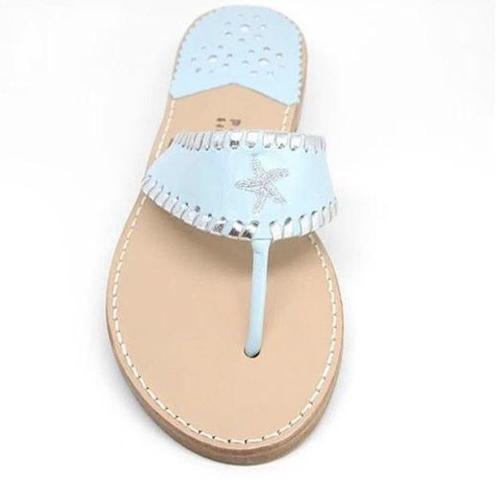 Palm Beach Aubrey Starfish Sandals in Sky and Silver  Apparel & Accessories > Shoes > Sandals > Thongs & Flip-Flops