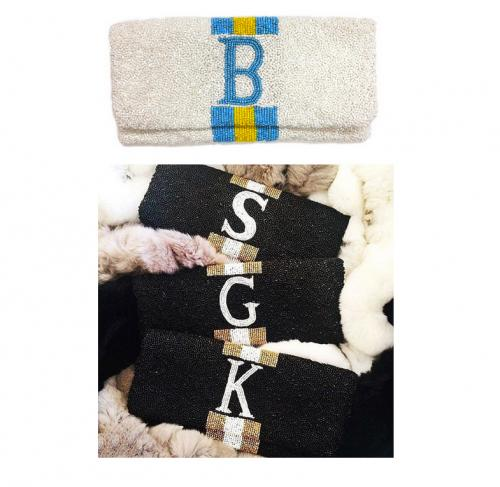 Monogrammed Hand Beaded Racing Striped Clutch  Apparel & Accessories > Handbags > Clutches & Special Occasion Bags