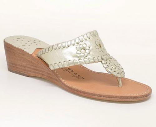 Preppy Palm Beach Mid Wedge Platinum Sandals  Apparel & Accessories > Shoes > Sandals > Thongs & Flip-Flops