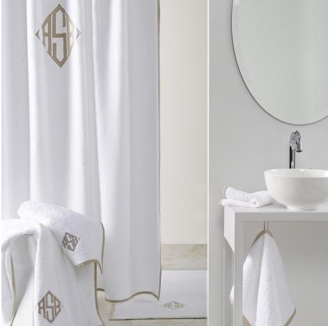 Matouk Monogrammed Enzo Shower Curtain 100 Percent White Linen  NULL