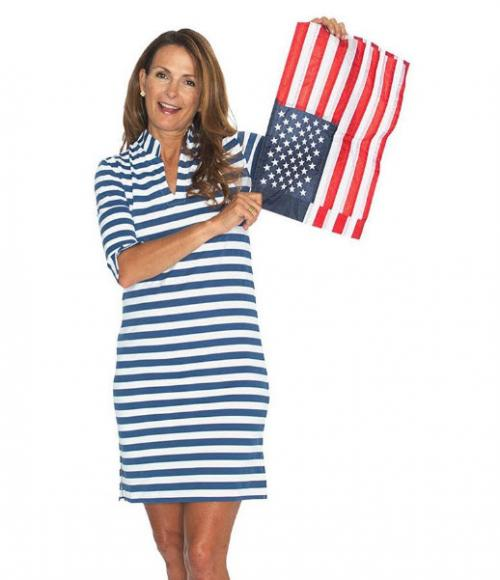 Sailor-Sailor White and Navy Awning Stripe Seaport Shift Dress  Apparel & Accessories > Clothing > Dresses > Day Dresses