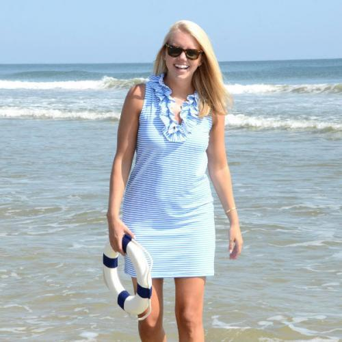 Sailor-Sailor Azure Blue and White Stripe Skipper Dress  Apparel & Accessories > Clothing > Dresses > Day Dresses