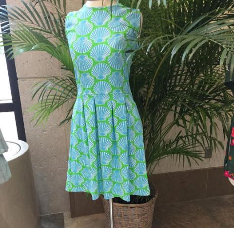 Sailor-Sailor Blue and Lime Scallop Shell Boardwalk Dress  Apparel & Accessories > Clothing > Dresses > Day Dresses