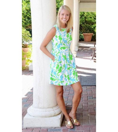 Sailor-Sailor Blue and Lime Seahorse Dance Boardwalk Dress  Apparel & Accessories > Clothing > Dresses > Day Dresses
