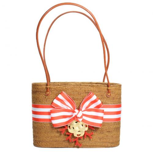 LOB Striped Bow Beaded Coral Bag LOB Striped Bow Beaded Coral Bag Apparel & Accessories > Handbags > Shoulder Bags