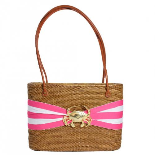 Large Oval Bali Bag Striped Bow Crab  Large Oval Bali Bag Striped Bow Crab Apparel & Accessories > Handbags > Shoulder Bags