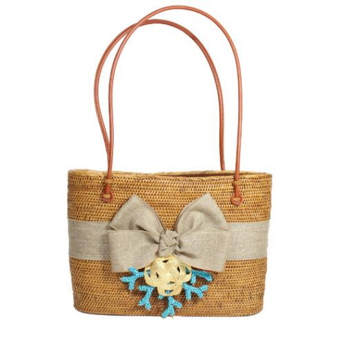 Large Oval Bali Bag Bow with Beaded Coral Large Oval Bali Bag Bow with Beaded Coral Apparel & Accessories > Handbags > Shoulder Bags
