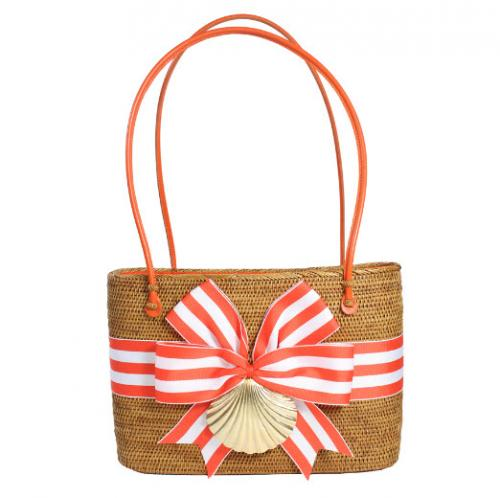 Large Oval Bali Bag Striped Bow with Scallop  Large Oval Bali Bag Striped Bow with Scallop  Apparel & Accessories > Handbags > Shoulder Bags