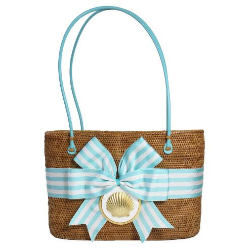 Large Oval Bali Bag Stripe Bow Scallop    Large Oval Bali Bag Stripe Bow Scallop   Apparel & Accessories > Handbags > Shoulder Bags