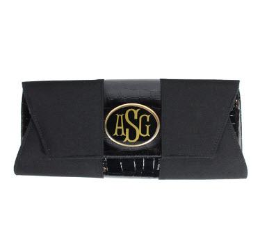Black Envelope Clutch with Monogram  Apparel & Accessories > Handbags > Clutches & Special Occasion Bags