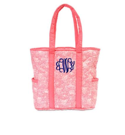 Monogrammed Quilted Harper Tote Pretty Pink Lions   Apparel & Accessories > Handbags > Tote Handbags