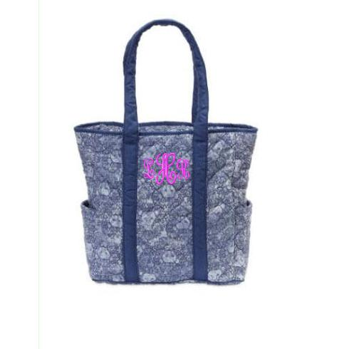 Monogrammed Quilted Harper Tote in Blue Lions   Luggage & Bags > Diaper Bags
