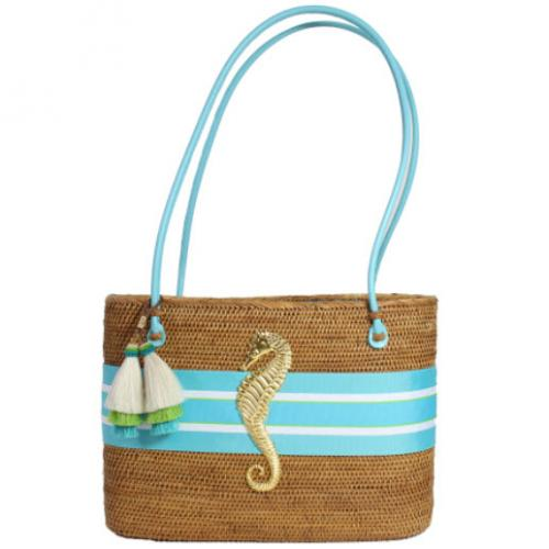 Large Oval Bali Bag Seahorse Turquoise Tassel Large Oval Bali Bag Seahorse Turquoise Tassel Apparel & Accessories > Handbags > Shoulder Bags