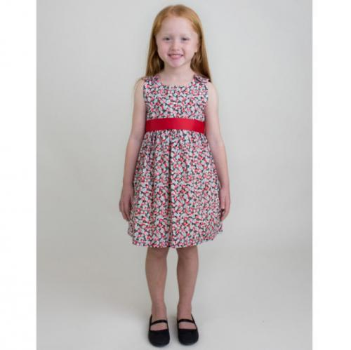 Personalized Flowers Dress with Red Sash  Apparel & Accessories > Clothing > Baby & Toddler Clothing > Baby & Toddler Dresses