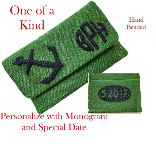 Monogrammed Raised Anchor and Date Beaded Bag  Apparel & Accessories > Handbags > Clutches & Special Occasion Bags