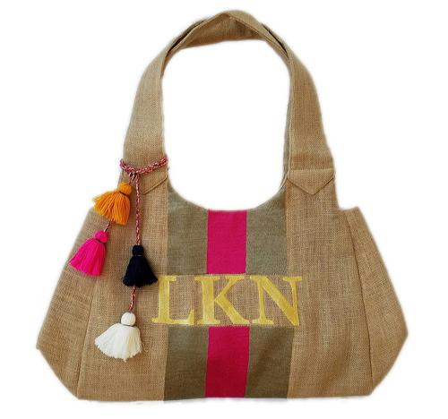 Monogrammed Embroidered Stripe Summer Tote  Apparel & Accessories > Handbags > Tote Handbags