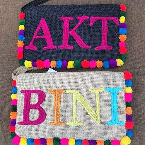 Personalized Beaded Large Jute Clutch with Pompoms  Apparel & Accessories > Handbags > Clutches & Special Occasion Bags
