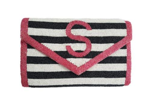 Monogram Beaded Stripe Large Clutch  Apparel & Accessories > Handbags > Clutches & Special Occasion Bags