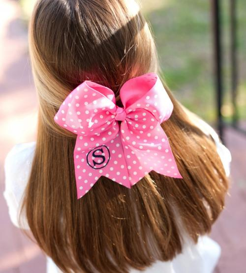 Monogrammed Girls Dottie Polka Dot Hair Bow  Apparel & Accessories > Clothing Accessories > Hair Accessories