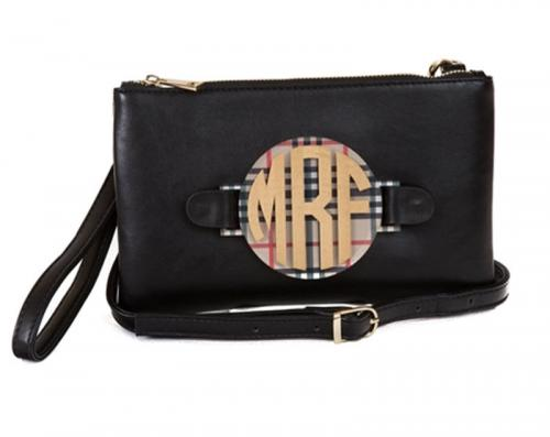 Black Convertible Crossbody Clutch with Interchangeable Monogram  Apparel & Accessories > Handbags > Wristlets