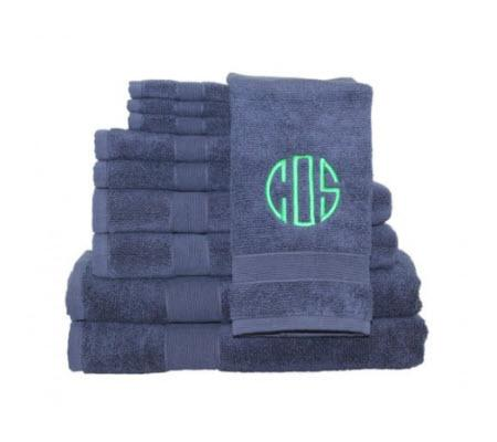 Monogrammed Navy Luxury Towel Set   Home & Garden > Bathroom Accessories