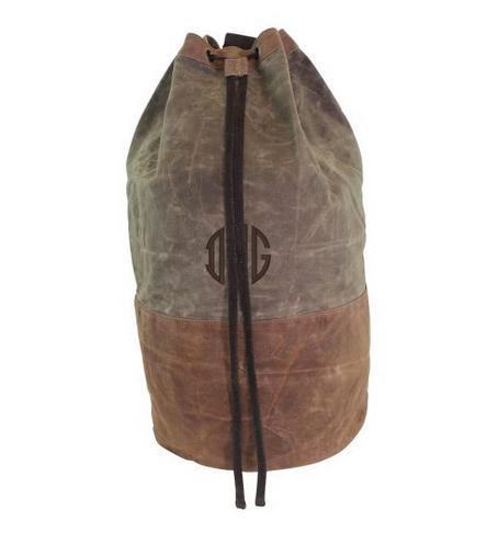 Monogrammed Olive Waxed Canvas Duffel   Luggage & Bags > Duffel Bags