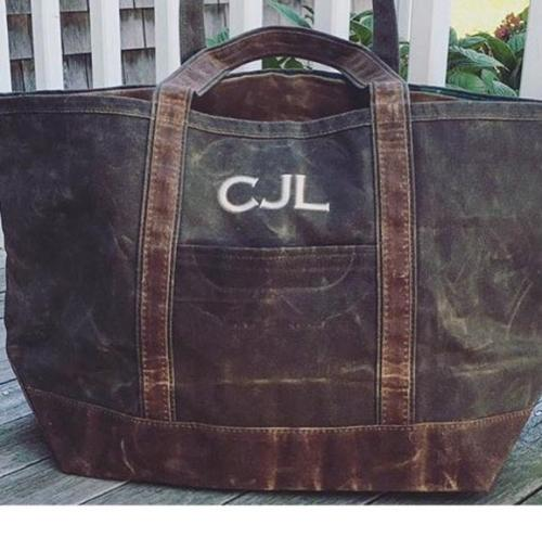 Monogrammed Slate Boat Tote with Olive Trim   Apparel & Accessories > Handbags > Tote Handbags