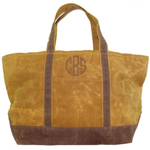 Monogrammed Yellow Canvas Boat Tote with Khaki Trim   Apparel & Accessories > Handbags > Tote Handbags