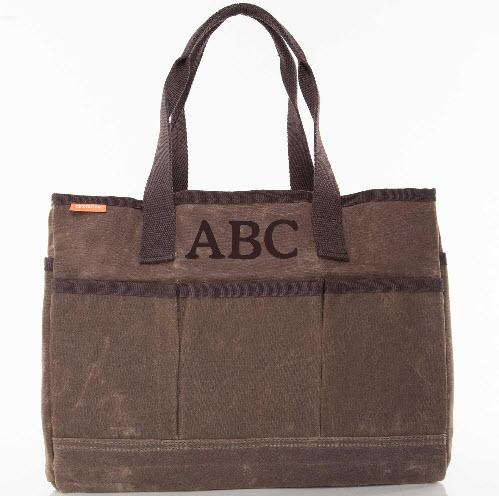 Monogrammed Olive Canvas Utility Tote   Apparel & Accessories > Handbags > Tote Handbags