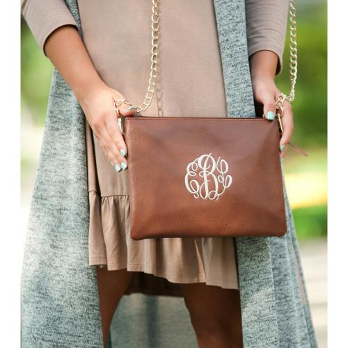 Monogrammed Camel Vegan Crossbody Kendall Clutch  Apparel & Accessories > Handbags > Cross-Body Handbags