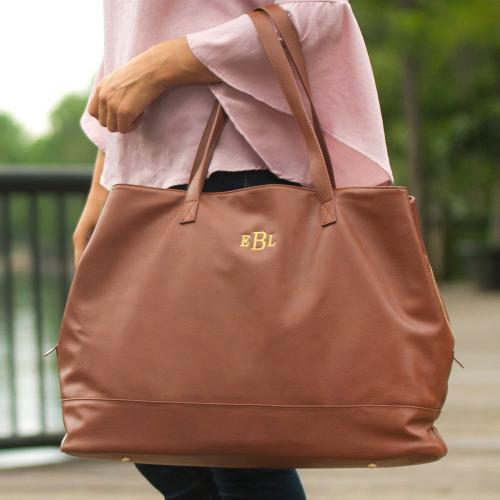 Personalized Camel Vegan Leather Cambridge Travel Bag  Apparel & Accessories > Handbags > Tote Handbags