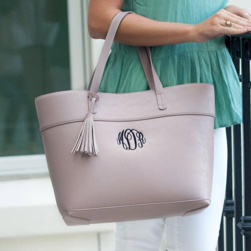 Monogrammed Blush Vegan Leather Aubrey Tassel Tote  Apparel & Accessories > Handbags > Tote Handbags