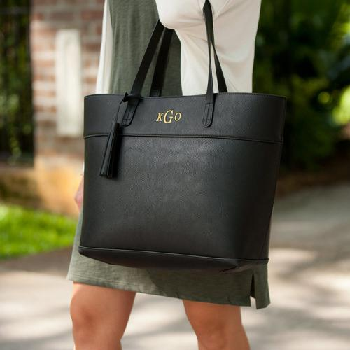 Monogrammed Black Vegan Leather Aubrey Tassel Tote  Apparel & Accessories > Handbags > Tote Handbags