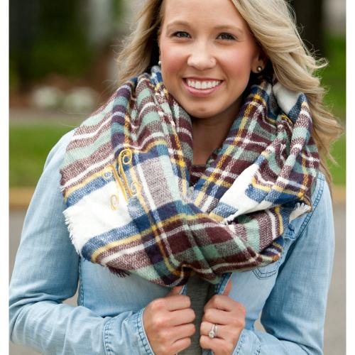 Monogrammed Blue and Wine Plaid Londyn Infinity Scarf  Apparel & Accessories > Clothing Accessories > Scarves & Shawls