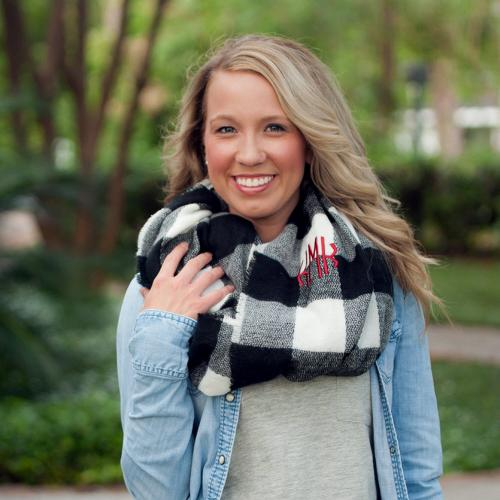 Monogrammed Black and White Buffalo Check Londyn Infinity Scarf  Apparel & Accessories > Clothing Accessories > Scarves & Shawls