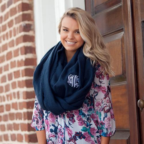 Monogrammed Navy Solid Londyn Infinity Scarf  Apparel & Accessories > Clothing Accessories > Scarves & Shawls