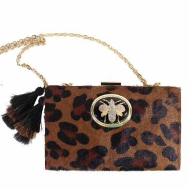Leopard Box Clutch & Horse Hair Tassel  Apparel & Accessories > Handbags > Clutches & Special Occasion Bags