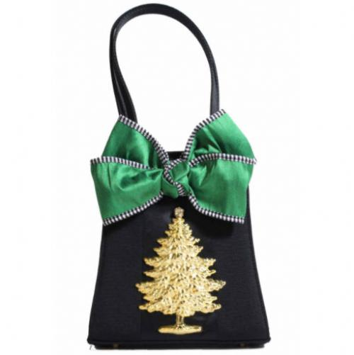 Evening Trap Purse with Xlarge Christmas Tree  Evening Trap Green Bow XL Tree Bag Apparel & Accessories > Handbags > Clutches & Special Occasion Bags