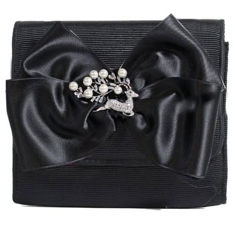 Custom Eve Square Bag Bow Pearl Deer  Apparel & Accessories > Handbags > Clutches & Special Occasion Bags