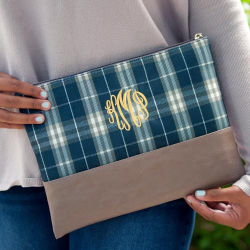 Monogrammed Middleton Plaid Zip Pouch  Luggage & Bags > Luggage Accessories > Travel Pouches