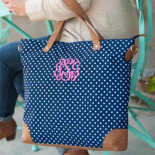 Monogrammed Navy Charlie Dot Shoulder Bag  Luggage & Bags