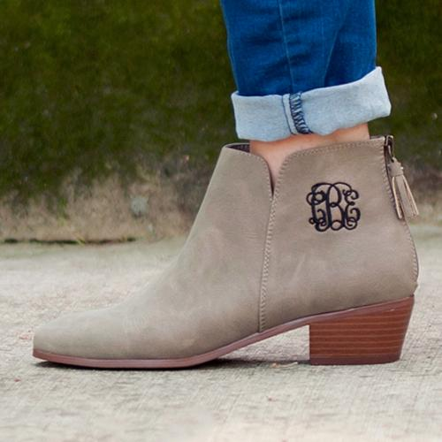 Monogrammed Taupe Suede Hudson Short Boots  Apparel & Accessories > Shoes > Boots