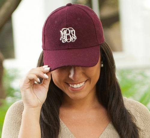 Monogrammed Wine Wool Cap  Apparel & Accessories > Clothing Accessories > Hats > Caps