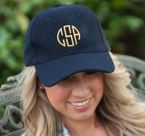 Monogrammed Navy Wool Cap  Apparel & Accessories > Clothing Accessories > Hats > Caps