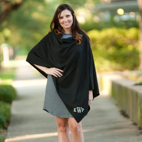 Monogrammed Black Soft Chelsea Poncho  Apparel & Accessories > Clothing > Outerwear > Coats & Jackets > Capes & Ponchos