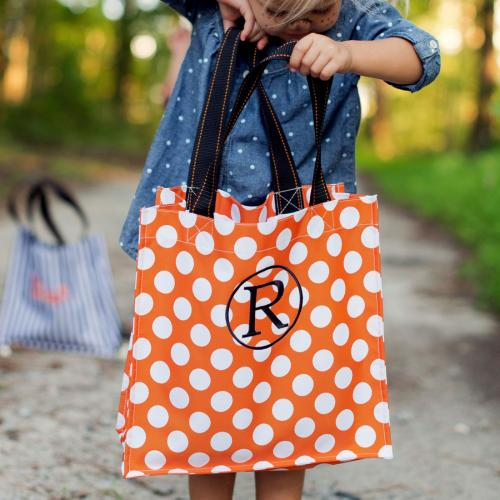 Personalized Orange Dot Halloween Tote  Home & Garden > Decor > Seasonal & Holiday Decorations