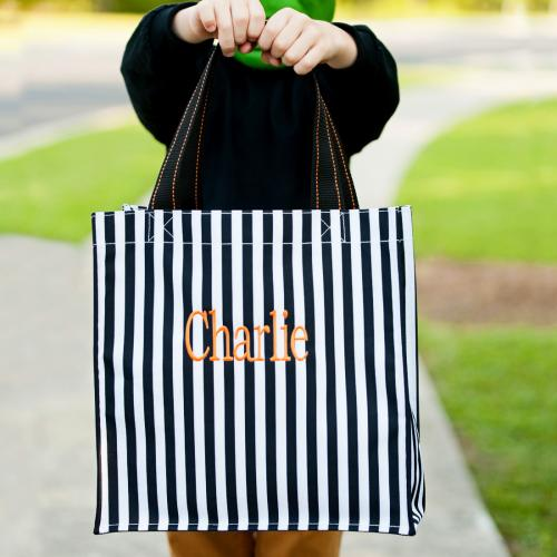 Personalized Black Stripe Halloween Tote  Home & Garden > Decor > Seasonal & Holiday Decorations
